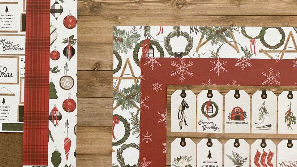 Kit 12 Papéis - Coleção Farmhouse Christmas - Carta Bella