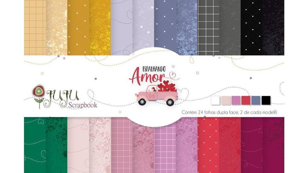 24 Folhas A5 - Coleção Espalhando Amor - Juju Scrapbook