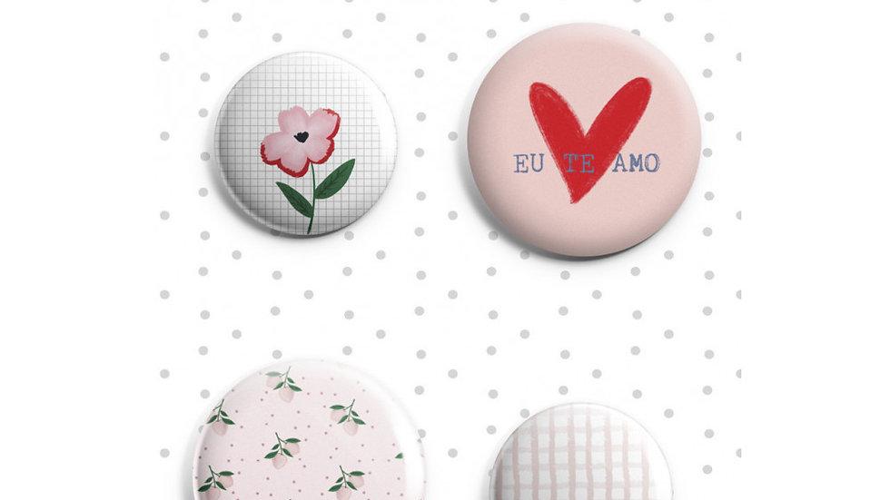 4 Bottons -  Coleção Espalhando Amor - Juju Scrapbook