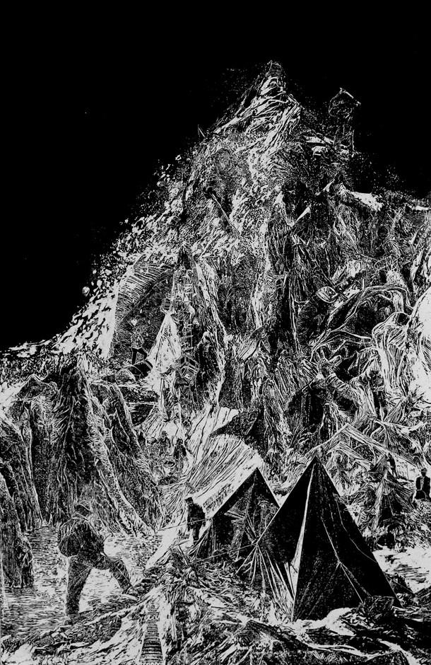 La montagne des rêves évanouis # 2, xylography, 79 x 122 cm