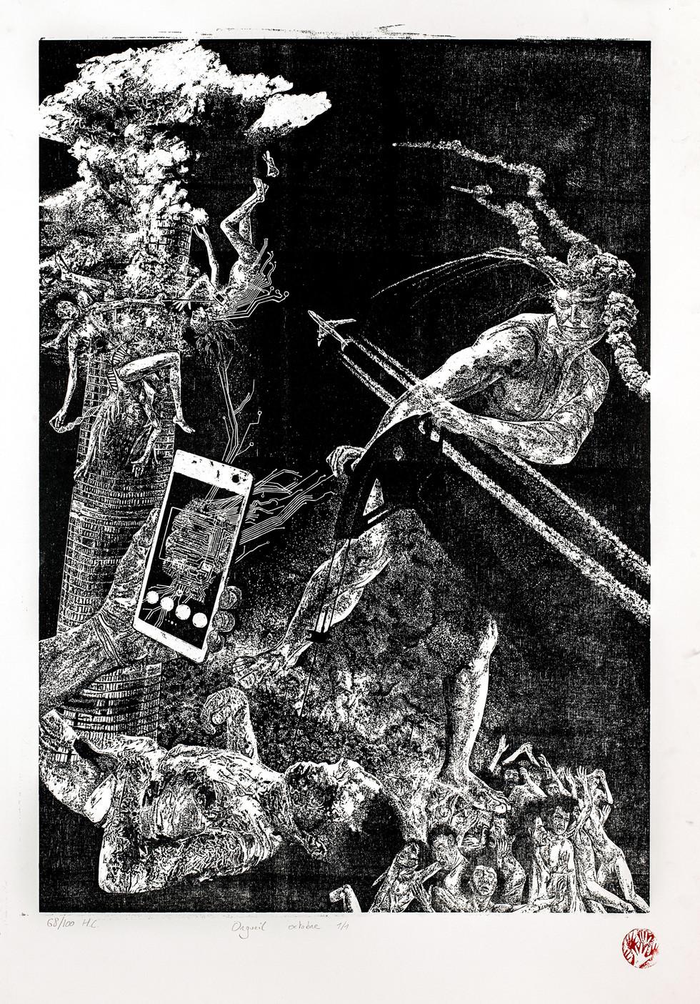 OrgueiI I, 68/100, xylographie, 70 x 100cm, 2019