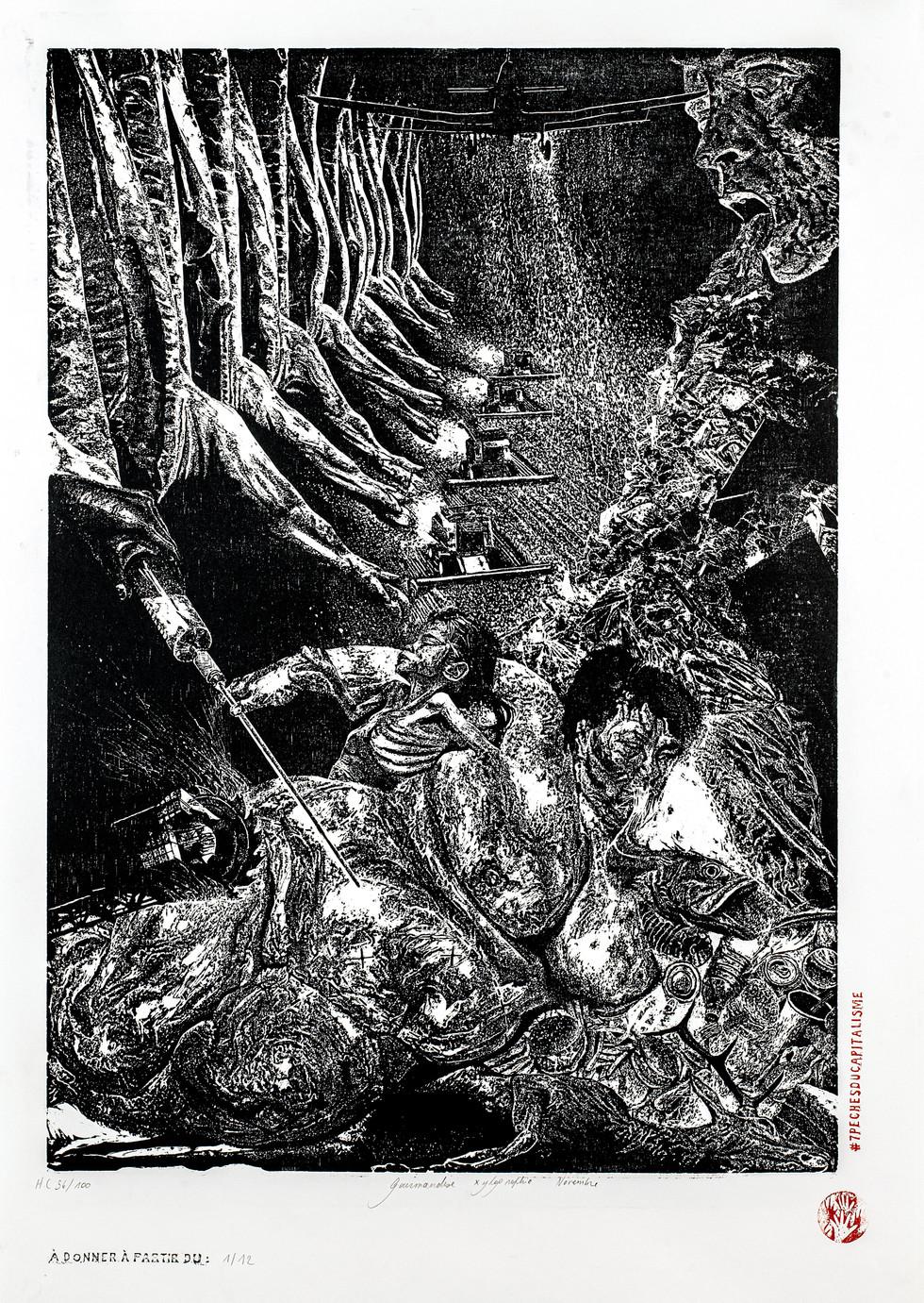 Gourmandise I, 56-100, xylographie, 70 x 100cm, 2019