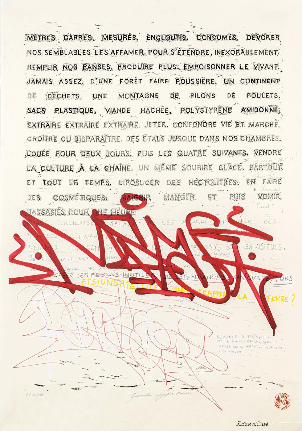 Gourmandise II, 56-100, xylographie, 70 x 100 cm, 2019