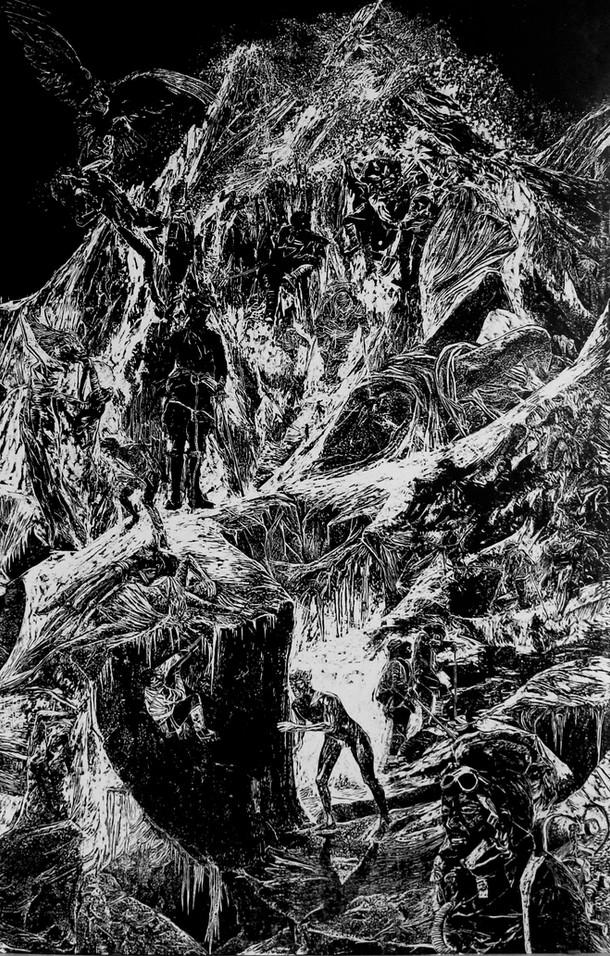 La montagne des rêves évanouis # 3, xylography, 79 x 122 cm