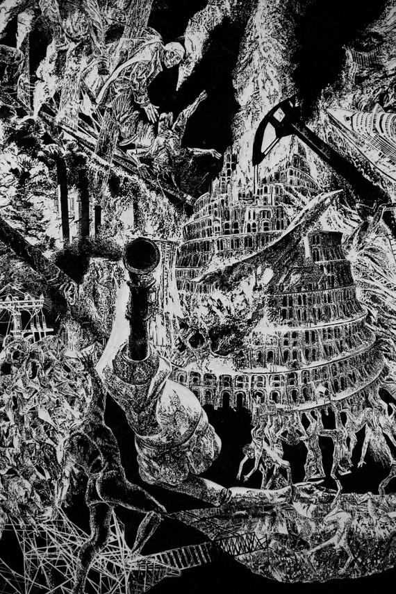 Lavandière de la nuit # 1, detail, xylography, 2019