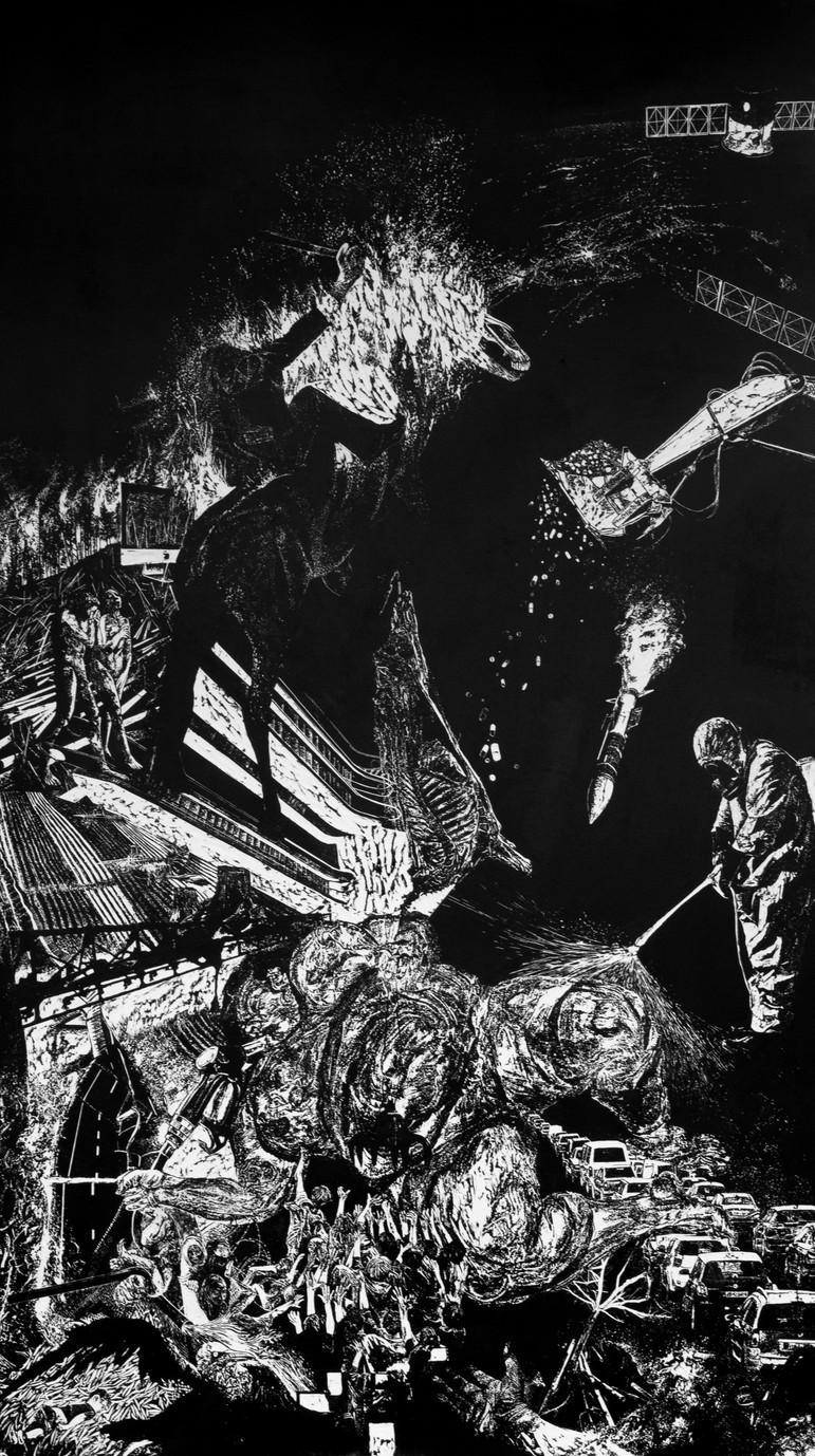 Lavandière de la nuit # 2,  xylogravure, 210 x 122 cm, 2019