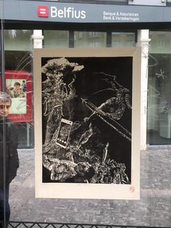Orgueil 38/100, xylographie, 70 x 100 cm, Saint- Josse.