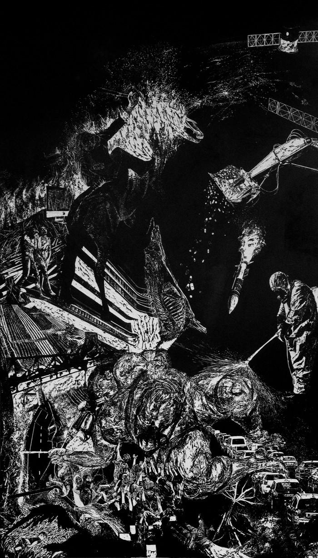 Lavandière de la nuit # 2, xylography, 210 x 122 cm, 2019
