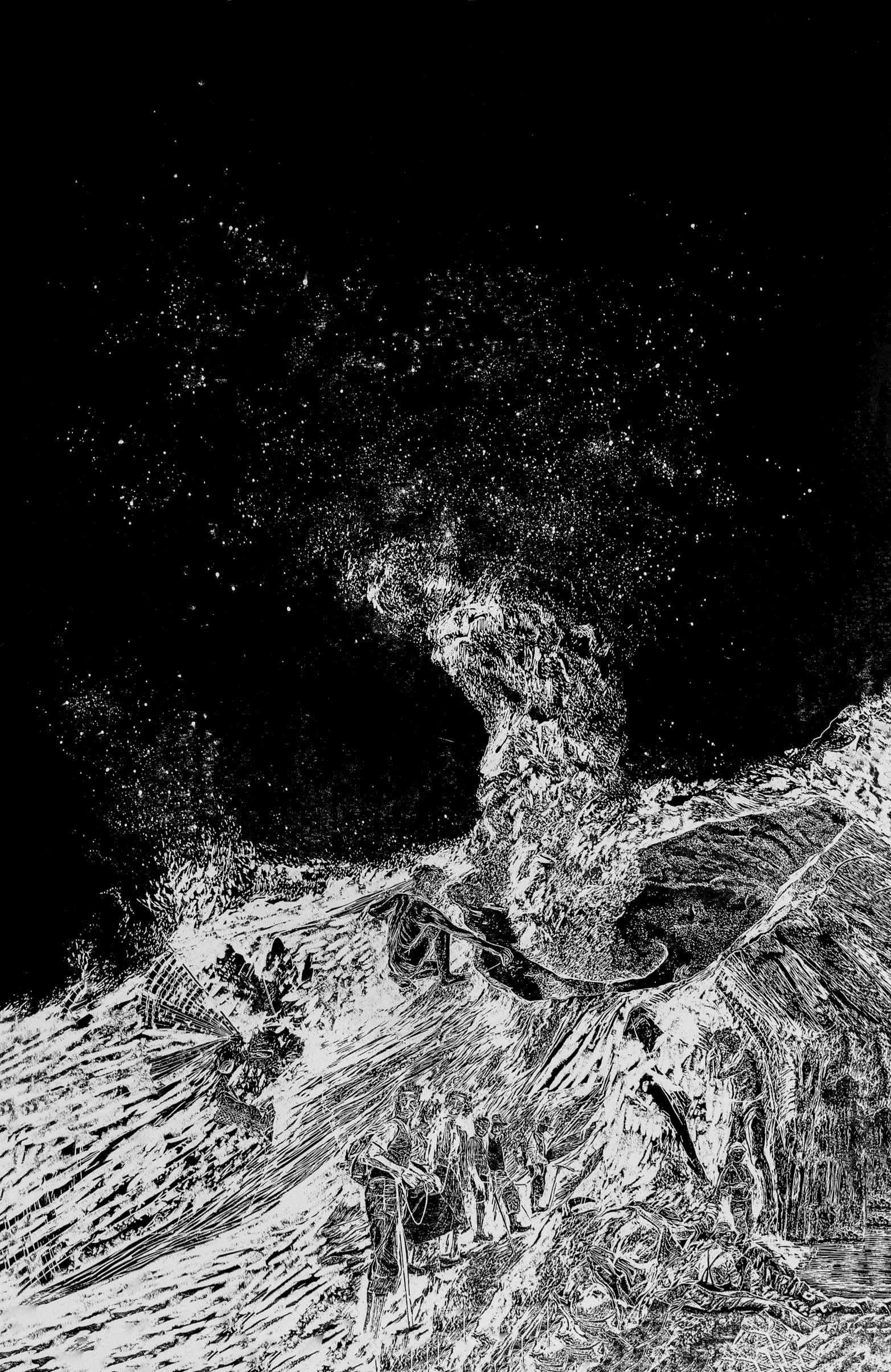 La montagne des rêves évanouis # 1, xylography, 79 x 122 cm