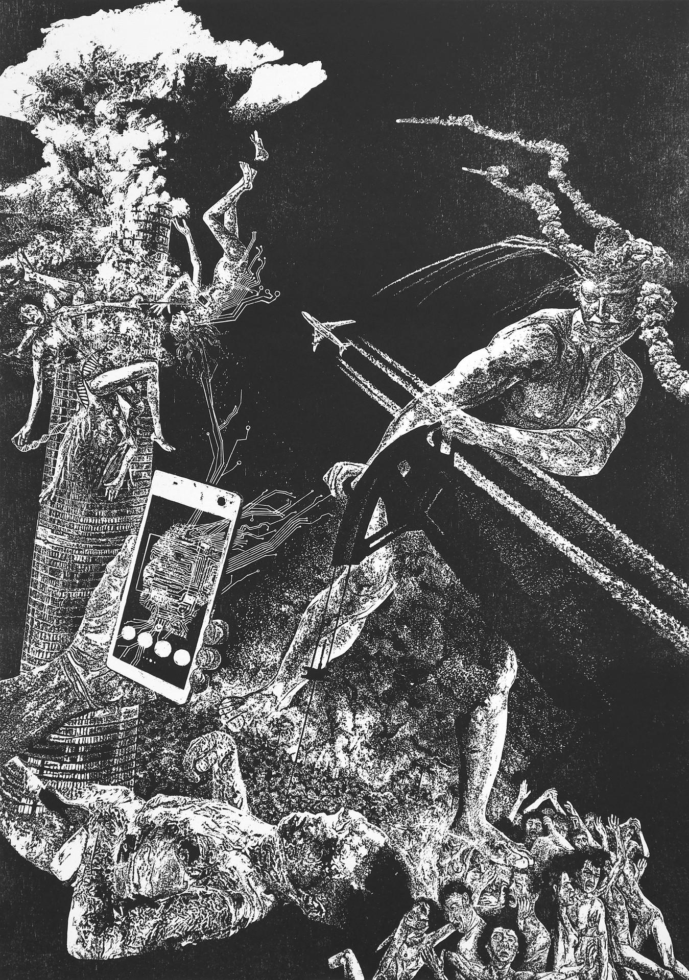 Orgueil I, xylogravure, 70 x 100 cm, 2019