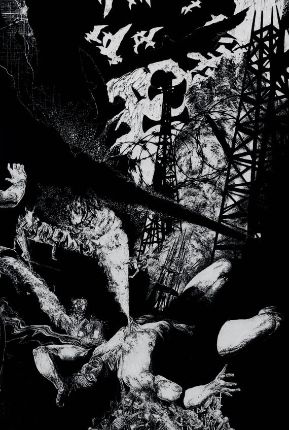 Lavandière de la nuit # 3, detail, xylography, 2019