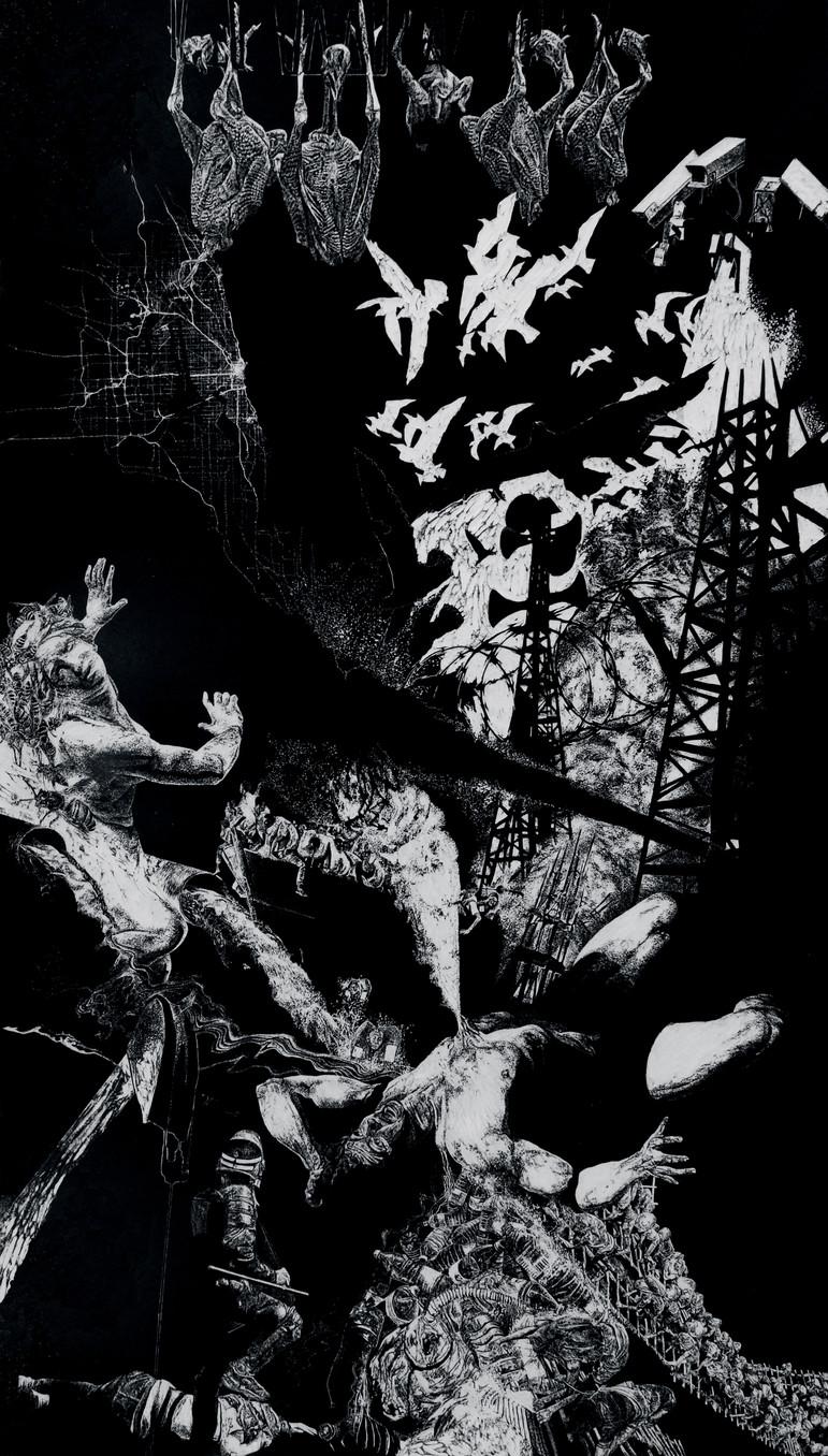 Lavandière de la nuit # 3,  xylogravure, 210 x 122 cm, 2019
