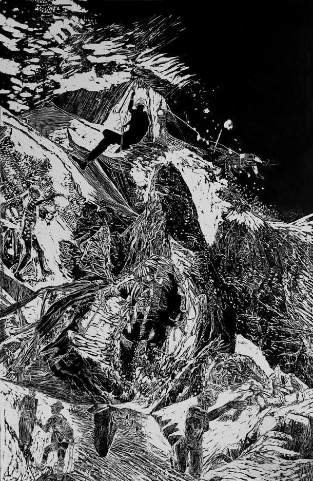 La montagne des rêves évanouis # 5, xylography, 79 x 122 cm