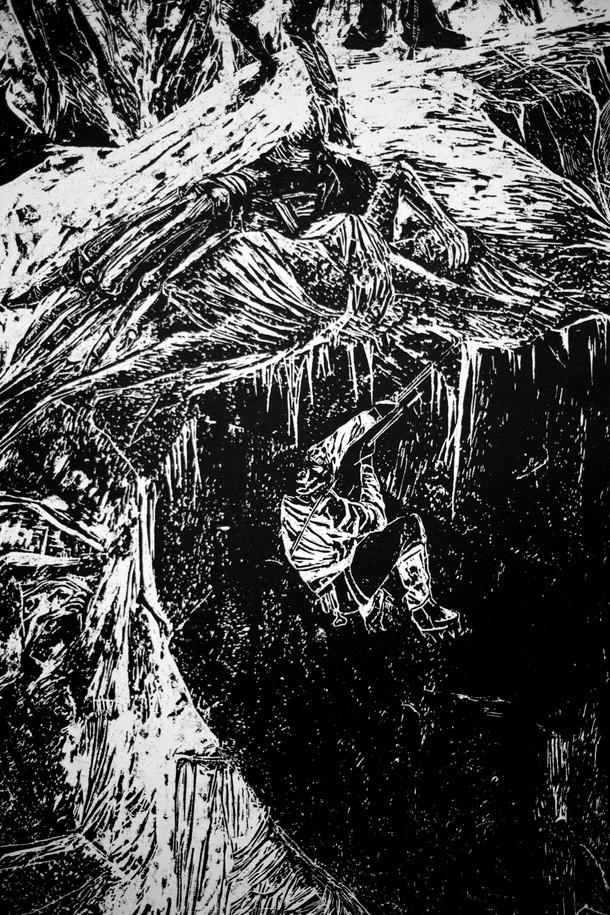 La montagne des rêves évanouis # 3, detail, xylography, 2016