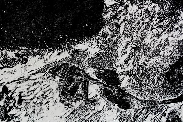 La montagne des rêves évanouis # 1, detail, xylography, 2016