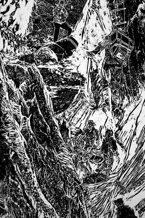 La montagne des rêves évanouis # 2, detail, xylography, 2016