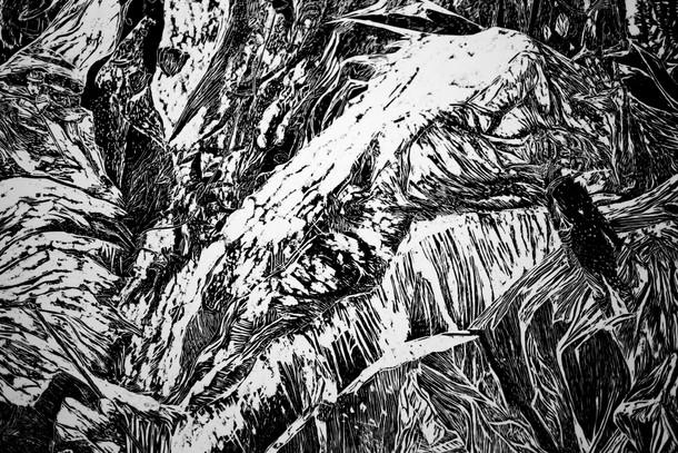 La montagne des rêves évanouis # 4, detail, xylography, 2016