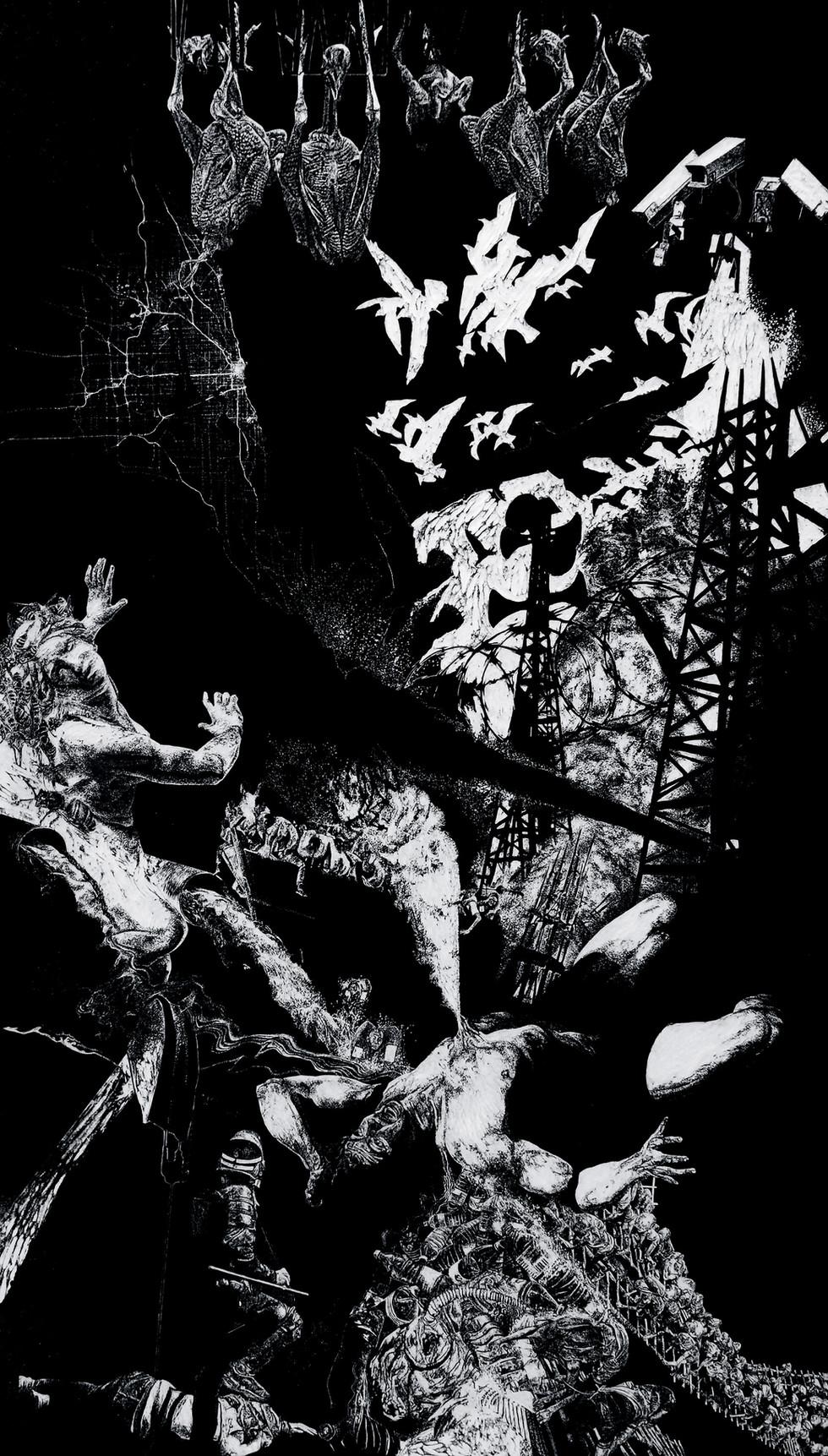 Lavandière de la nuit #3, xylographie, 210 x 122 cm, 2019