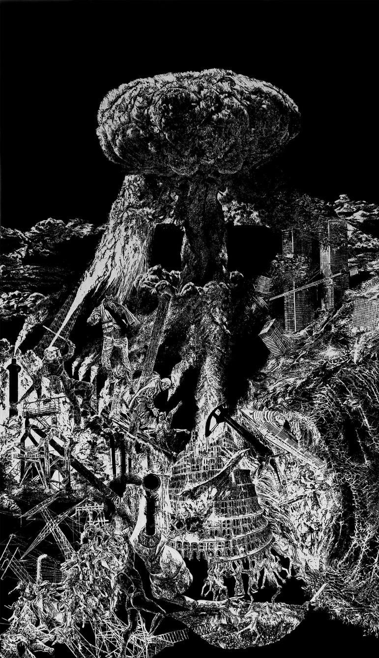Lavandière de la nuit # 1,  xylogravure, 210 x 122 cm, 2019