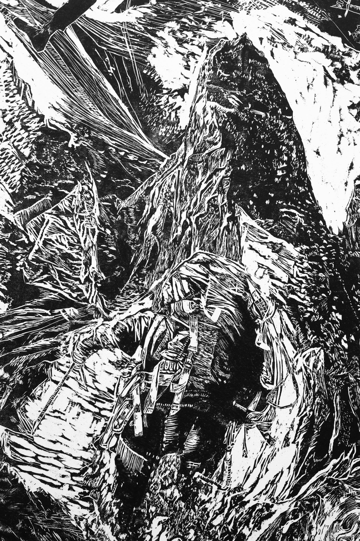 La montagne des rêves évanouis # 5, detail, xylography, 2016