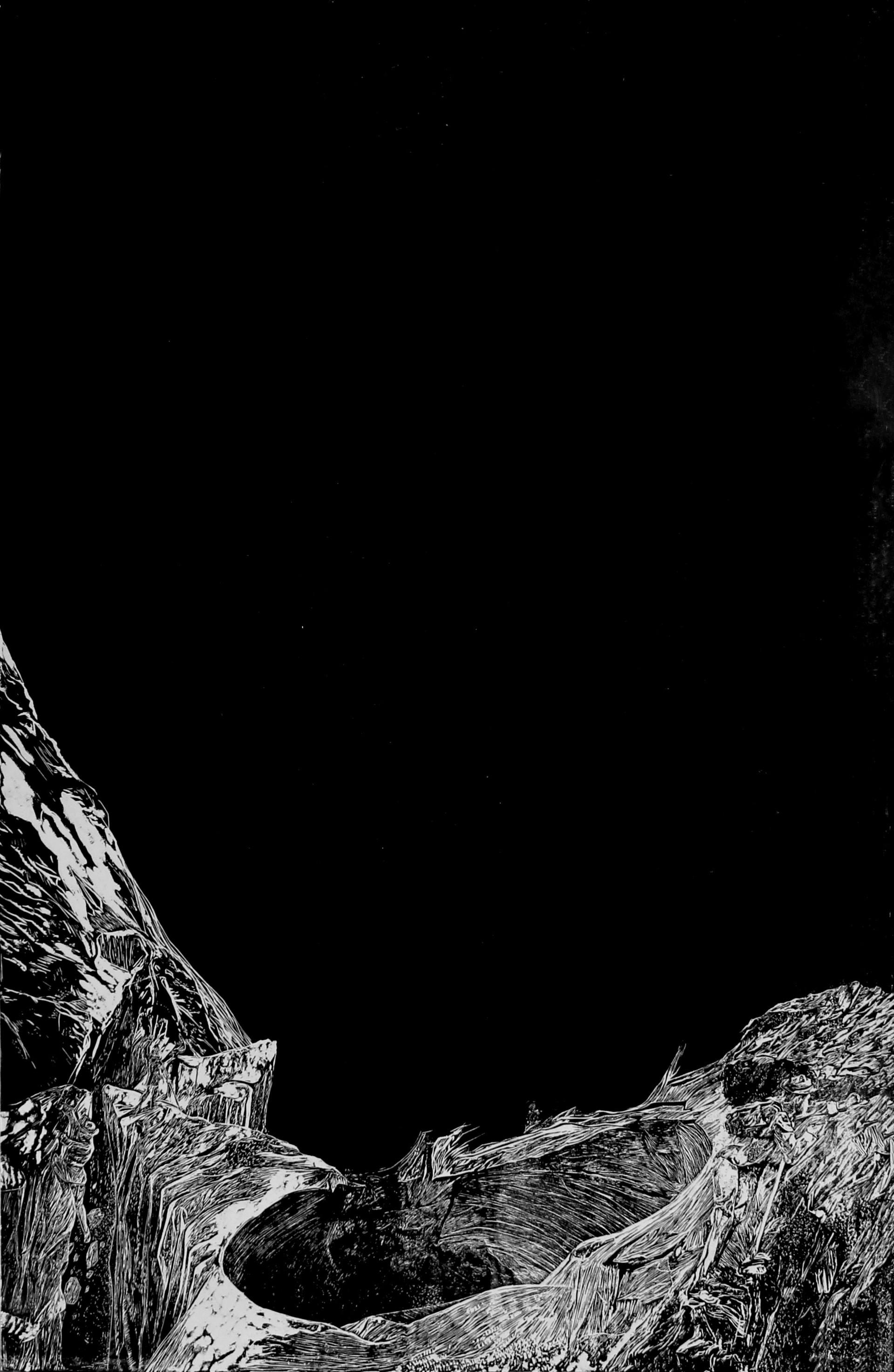 La montagne des rêves évanouis # 6, xylography, 79 x 122 cm