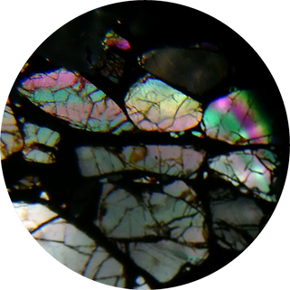 Admire Palasite meteorite as seen in PetroViewer