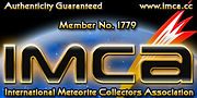 Guaranty of Authenticity, backed by membership in International Meteorite Collectors Association