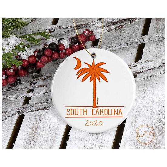Orange South Carolina Christmas Ornament