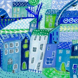 Gouache Abstract Blues
