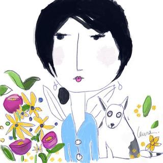 Digitally Hand Drawn illustration of girl and dog