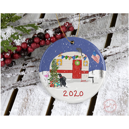 Camper Christmas with American Flag Ornament
