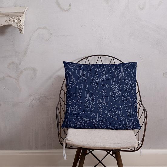 Basic Matisse Pattern Pillow in Navy