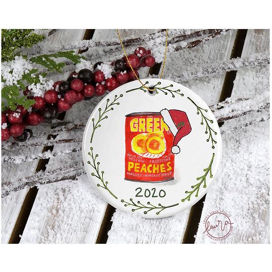 Greer Santa Peaches with Wreath Christmas Ornament