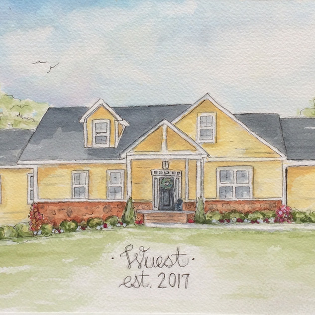 Custom New Home Watercolor