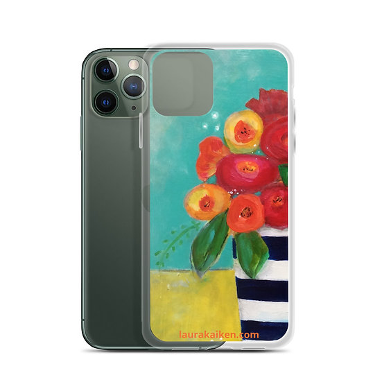 iPhone Case Spring Flowers in Stripe Pot