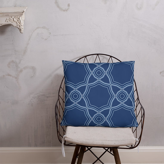 Geometric Navy and White Pillow