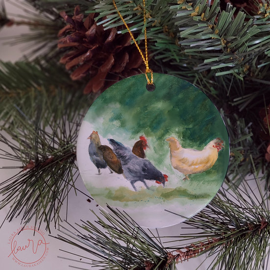 Chickens on a Christmas Ornament
