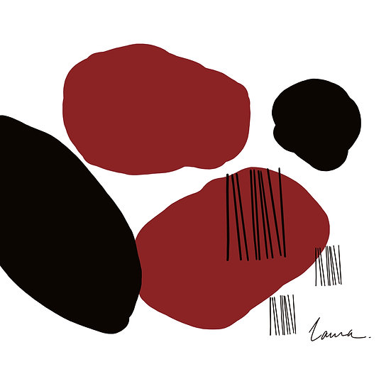 USC Abstract Print in Black and Garnet