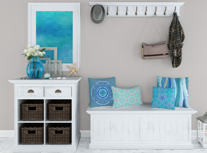 Lovely pillows, and rug.  Super calming original painting.