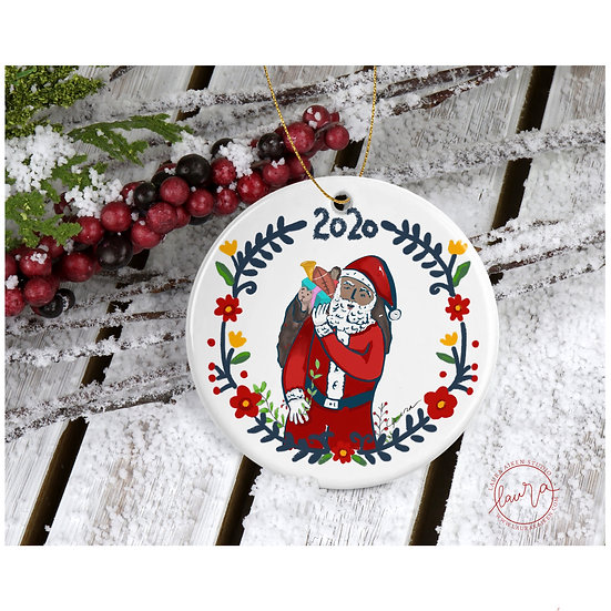 Black Santa Claus Christmas Ornament