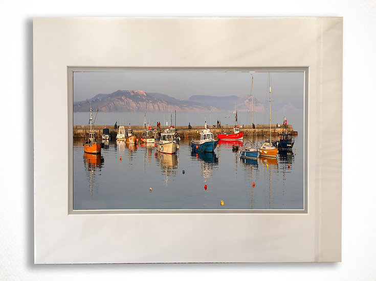 Double Mounted Print - Fishing Boats on Lyme Regis Harbour.