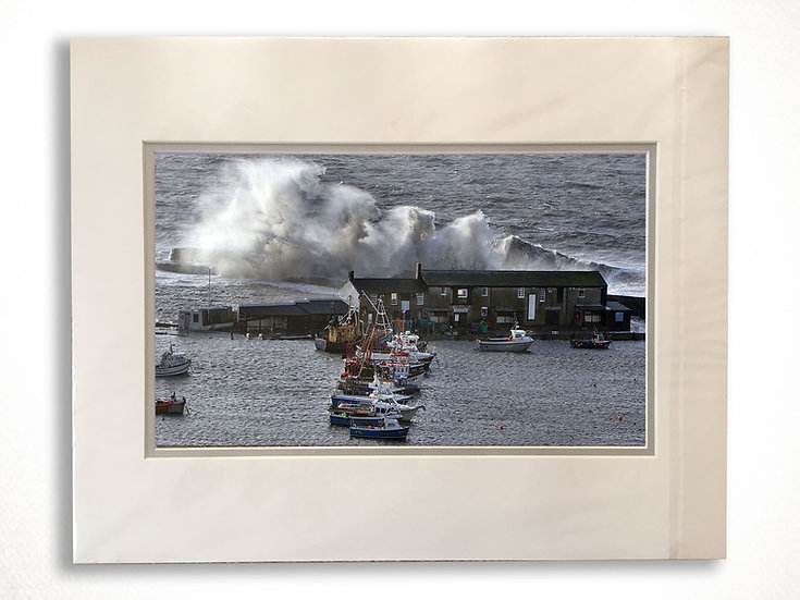 Double Mounted Print - White Horses. A stormy Harbour, Lyme Regis.