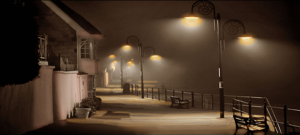 A misty night on the parade at Lyme Regis.
