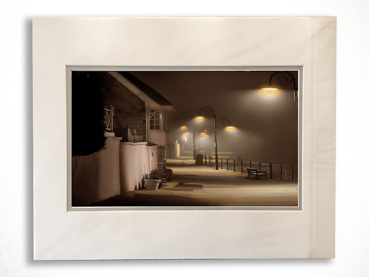 Double Mounted Print - A misty night on the parade at Lyme Regis.