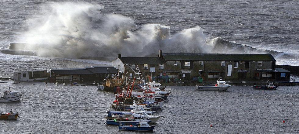 White Horses. A stormy Harbour, Lyme Regis.