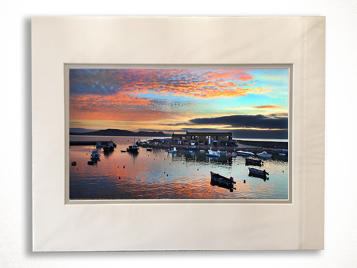 Double Mounted Print - Harbour Sunset, Lyme Regis.
