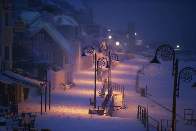 Night time snow Lyme Regis.