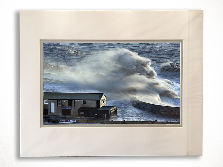Double Mounted Print - Stormy seas crash over Lyme Regis Harbour.