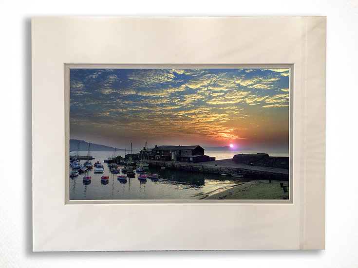 Double Mounted Print - Mackerel at Sunrise, Lyme Regis Harbour