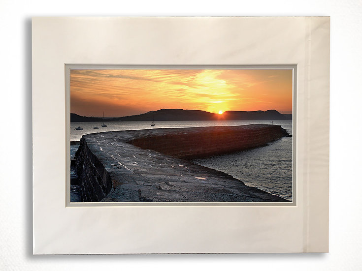 Double Mounted Print - Sunrise over Stonebarrow from the Cobb, Lyme Regis.
